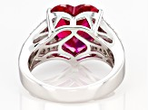Red Lab Created Ruby Rhodium Over Silver Ring 7.30ctw