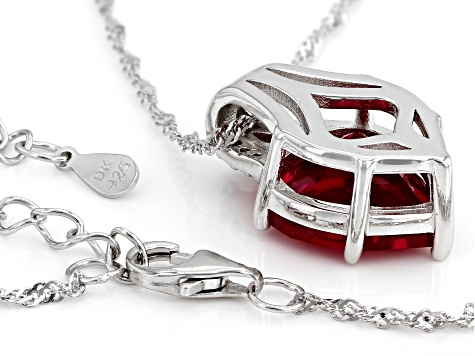 Red Lab Created Ruby Rhodium Over Silver Pendant With Chain 6.92ctw
