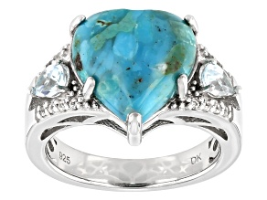 Blue Turquoise Rhodium Over Sterling Silver Ring .62ctw