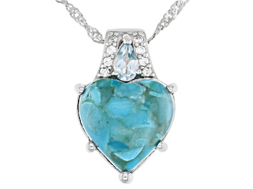 Picture of Blue Turquoise Rhodium Over Silver Pendant With Chain .32ctw