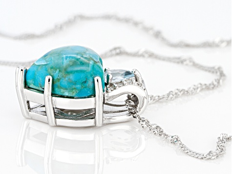 Blue Turquoise Rhodium Over Silver Pendant With Chain .32ctw