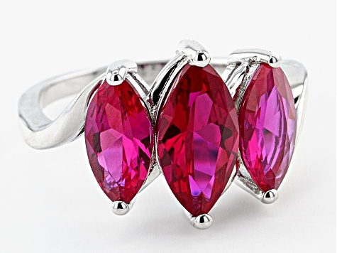 Red Lab Created Ruby Rhodium Over Sterling Silver 3-Stone Ring 3.79ctw
