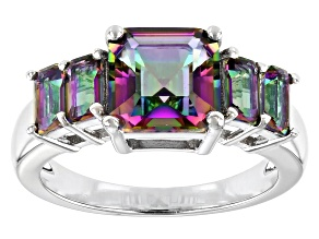 Multicolor Quartz Rhodium Over Sterling Silver Ring 3.15ctw