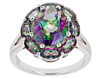 Picture of Multi-color Quartz Rhodium Over Sterling Silver Ring 4.41ctw