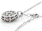 Multi-color Quartz Rhodium Over Sterling Silver Pendant With Chain 4.41ctw