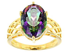Multicolor Quartz 18K Yellow Gold Over Sterling Silver Solitaire Ring 5.10ct