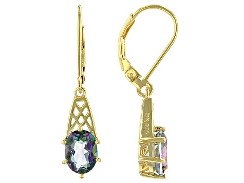 Multicolor Quartz 18k Yellow Gold Over Silver Solitaire Earrings 2.21ctw