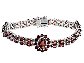 Red Garnet Rhodium Over Sterling Silver Bracelet 15.95ctw