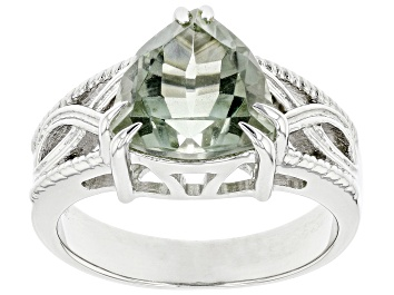 Picture of Green Prasiolite Rhodium Over Sterling Silver Ring 2.55ct