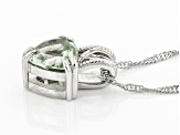 Green Prasiolite Rhodium Over Sterling Silver Pendant With Singapore Chain 2.55ct