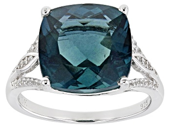 Picture of Teal Fluorite Rhodium Over Silver Ring 7.40ctw
