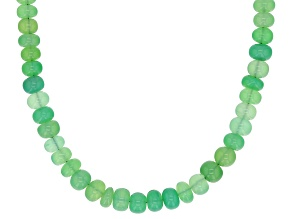 Green Chrysoprase Bead Strand Silver Necklace