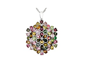 Multicolor Tourmaline Rhodium Over Silver Pendant with chain 9.08ctw