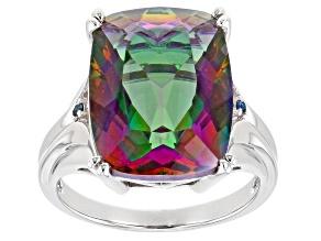 Multi-Color Quartz Rhodium Over Sterling Silver Ring 8.51ctw