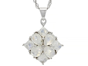 Rainbow Moonstone Rhodium Over Sterling Silver Pendant With Chain