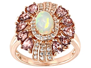 Multi Color Ethiopian Opal 18k Rose Gold Over Sterling Silver Ring 2.11ctw