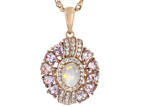 White Ethiopian Opal 18k Rose Gold Over Sterling Silver Pendant/Chain 2.19ctw