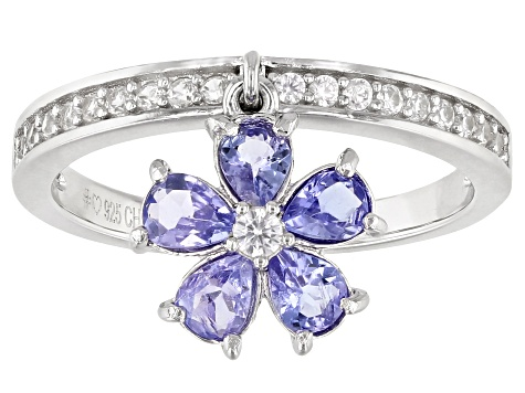Blue Tanzanite Rhodium Over Silver Charm Ring 0.94ctw