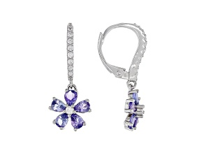 Blue Tanzanite Rhodium Over Sterling Silver Earrings 1.71ctw