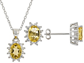 Yellow Citrine Rhodium Over Silver Earrings And Pendant Chain Set 2.78ctw