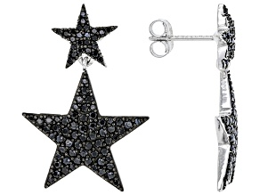 Black Spinel Rhodium Over Sterling Silver Star Dangle Earrings 1.50ctw