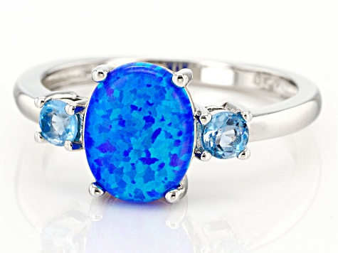 Lab Created Blue Opal Rhodium Over Sterling Silver 3-Stone Ring 0.14ctw