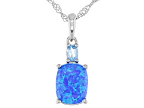 Blue Lab Created Opal Rhodium Over Silver Pendant With Chain 0.19ctw