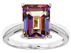 Multicolor Northern Lights(TM) Quartz Rhodium Over Sterling Silver Solitaire Ring 2.66ct