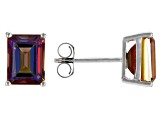 Multicolor Northern Lights(TM) Quartz Rhodium Over Silver Stud Earrings 2.53ctw