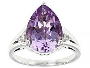Lavender Amethyst Rhodium Over Sterling Silver Ring 3.83ctw