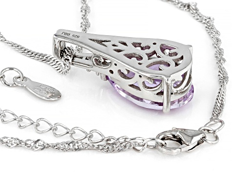 Lavender Amethyst Rhodium Over Sterling Silver Pendant With Chain 3.81ctw