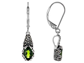 Green Chrome Diopside Sterling Silver Dangle Earrings 1.50ctw
