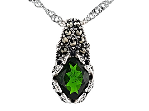 Green Chrome Diopside Sterling Silver Pendant with Chain 1.06ct