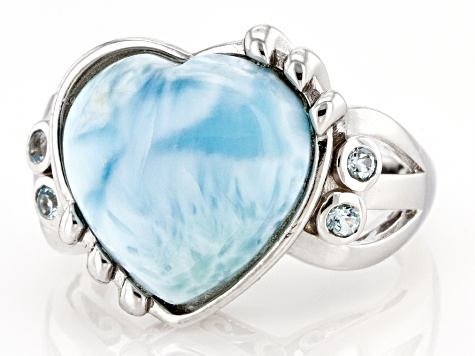 Blue Larimar Rhodium Over Sterling Silver Heart Ring 0.15ctw