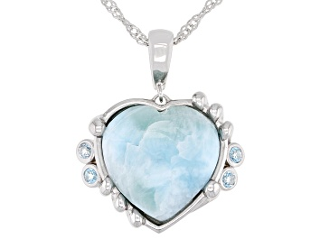 Picture of Blue Larimar Rhodium Over Silver Heart Enchancer with chain 0.15ctw