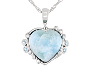 Blue Larimar Rhodium Over Silver Heart Enchancer with chain 0.15ctw