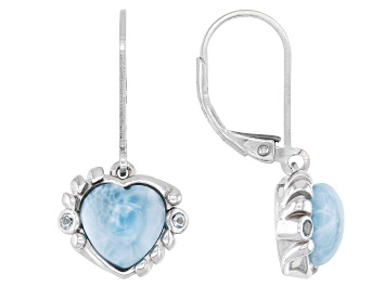 Picture of Blue Larimar Rhodium Over Silver Heart Dangle Earrings 0.06ctw