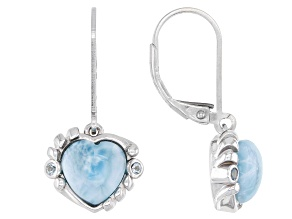 Blue Larimar Rhodium Over Silver Heart Dangle Earrings 0.06ctw