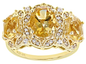 Yellow Citrine 18k Yellow Gold Over Sterling Silver Ring 2.98ctw