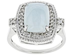 Blue Aquamarine Rhodium Over Silver Ring 0.40ctw