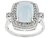 Blue Aquamarine Rhodium Over Silver Ring 0.40ctw