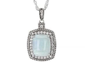 Blue Aquamarine Rhodium Over Silver Pendant With Chain 0.41ctw