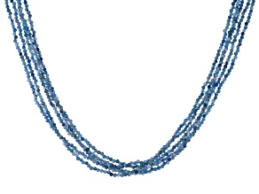 Blue Kyanite Rhodium Over Sterling Silver Beaded Necklace