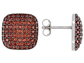 Red Garnet Rhodium Over Sterling Silver Earrings 3.08ctw
