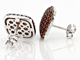 Red Garnet Rhodium Over Sterling Silver Earrings 3.08ctw