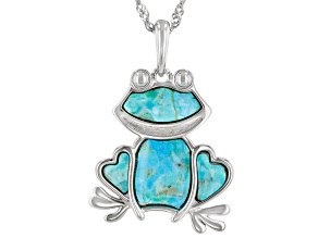 Blue Turquoise Rhodium Over Sterling Silver Frog Pendant With Chain