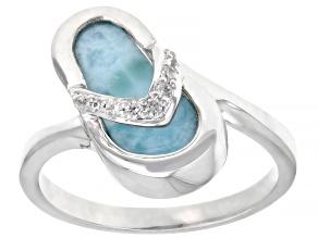 Blue Larimar Rhodium Over Sterling Silver Flip-Flop Ring .07ctw