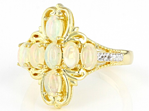 Multi-color Ethiopian Opal 18k Yellow Gold Over Sterling Silver Ring 1.02ctw