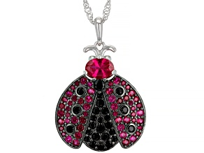 Red Lab Created Ruby Rhodium Over Silver Ladybug Pendant With Chain 2.21ctw