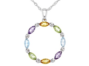 Blue Topaz Rhodium Over Silver Pendant With Chain 1.73ctw